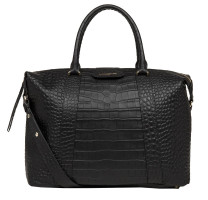 Grand sac cabas Exotic Croco souple Lancaster 524-76 couleur noir vue de face