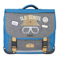 Cartable réversible 38cm Pol Fox Old School P2-CA38-REV Gris chiné / Bleu